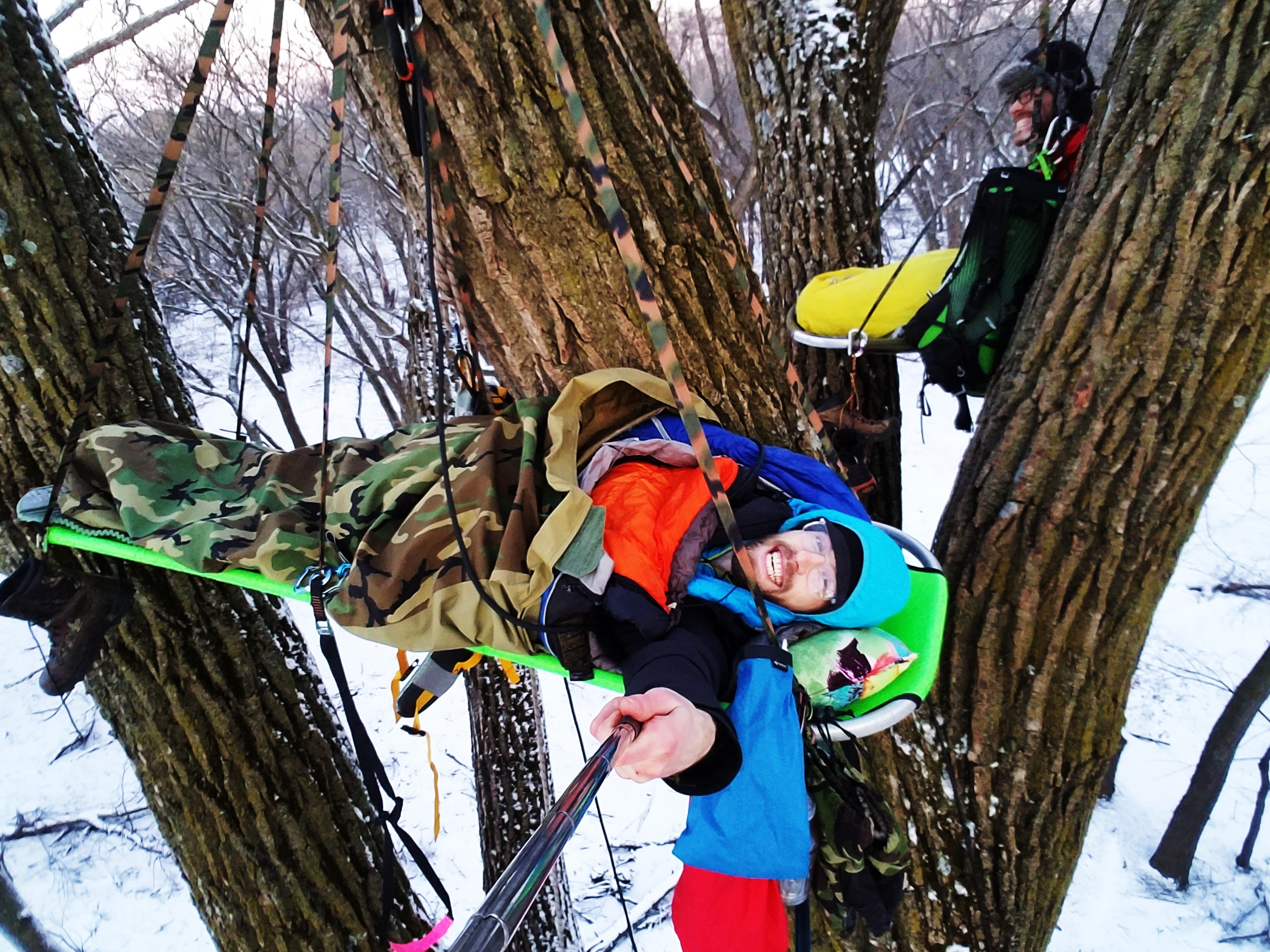 Winter Tree Camping on a Portaledge in South Dakota