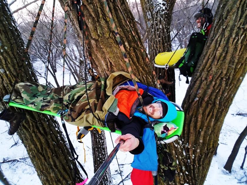 Winter Tree Camping on a Portaledge in South Dakota
